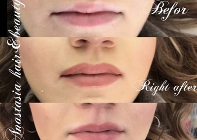 lipliner and full lip colour before after